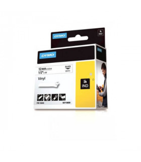 Dymo S0718600 (18444), Vinyl Label Tape, 12mm x 5.5m, Black on White | ⓿❽❻❽❺⓿❺⓿❺❺ | Nhãn in, tem in, giấy in, băng nhãn, tape...