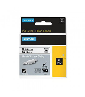 Dymo S07183000 (18055) Rhino Heat-Shrink Cable Label Tube 12 mm x 1.5 m Cassette - Black on White | ⓿❽❻❽❺⓿❺⓿❺❺ | Ống co nhiệt...