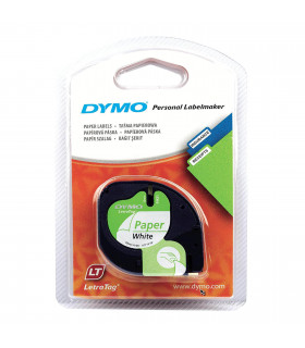 Dymo S0721510 (91200) LetraTag Self-Adhesive Paper Tape 12 mm x 4 m - Black on White | ⓿❽❻❽❺⓿❺⓿❺❺ | Nhãn in, tem in, giấy in,...