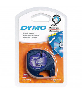 Dymo LetraTag S0721530 (12267) Plastic Label Tape 12mm x 4m - Black on Transparent | ⓿❽❻❽❺⓿❺⓿❺❺ | Nhãn in, tem in, giấy in, b...