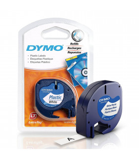 Dymo LetraTag S0721610 (91201) Plastic Label Tape 12mm x 4m - Black on White | ⓿❽❻❽❺⓿❺⓿❺❺ | Nhãn in, tem in, giấy in, băng nh...