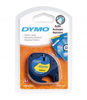 Dymo LetraTag S0721620 (91202) Plastic Label Tape 12mm x 4m - Black on Yellow | ⓿❽❻❽❺⓿❺⓿❺❺ | Nhãn in, tem in, giấy in, băng n...