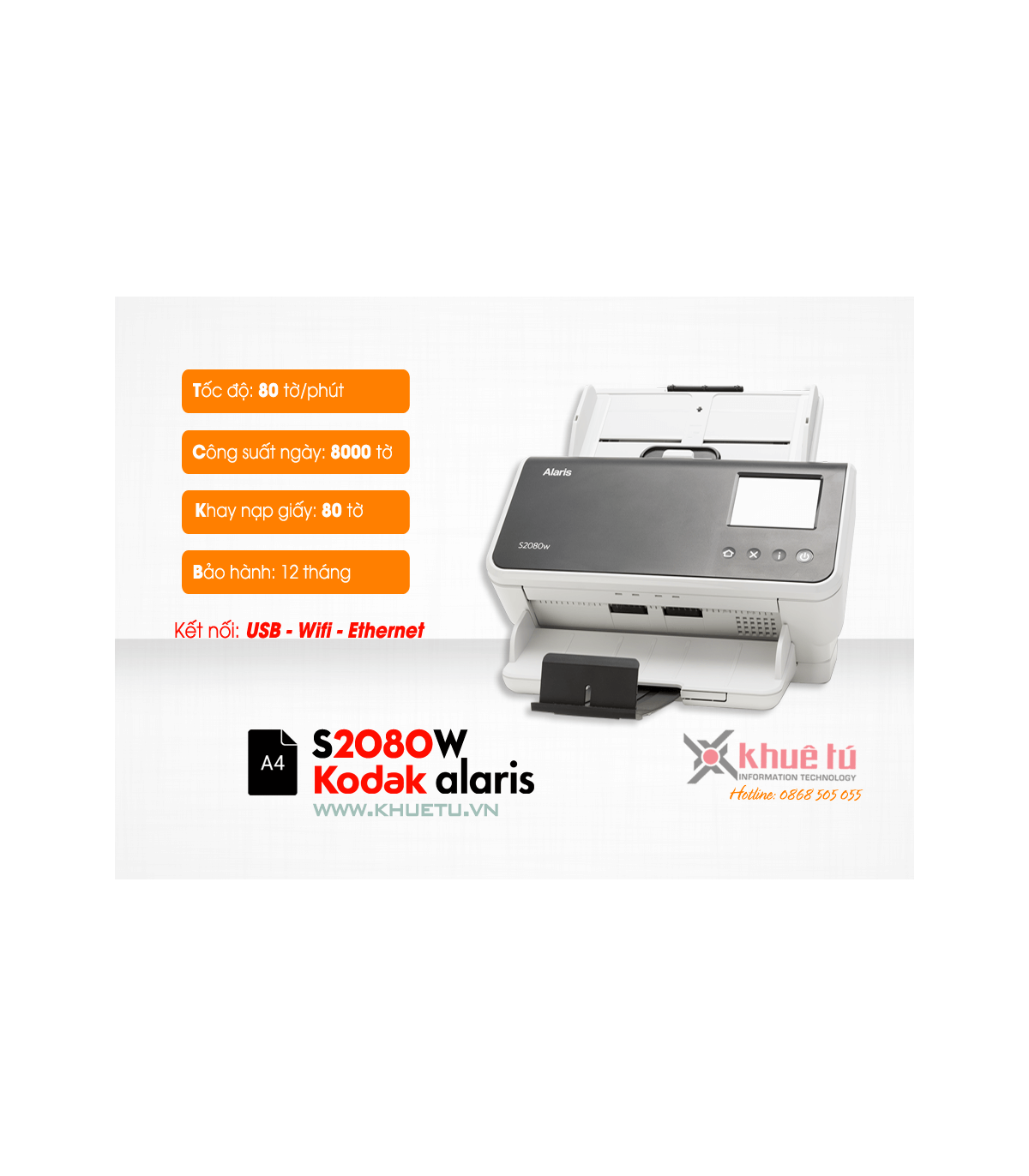 Máy scan, scanner Kodak Alaris S2080W (80ppm, 8000ppd, A4, Wifi, RJ45)  | Workgroup  | Kodak  | khuetu.vn