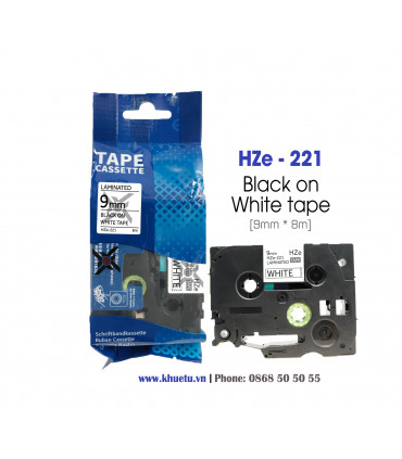 Nhãn in HZe-221 (TZe-221, TZ2-221), 9mm x 8m, Black on White | ⓿❽❻❽❺⓿❺⓿❺❺ | Nhãn in, tem in, giấy in, băng nhãn, tape in | kh...