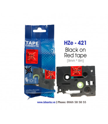 Nhãn in HZe-421 (TZe-421, TZ2-421), 9mm x 8m, Black on Red | ⓿❽❻❽❺⓿❺⓿❺❺ | Nhãn in, tem in, giấy in, băng nhãn, tape in | khue...