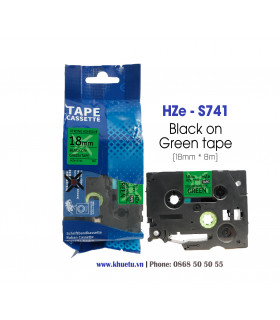 Nhãn in HZe-S741 (TZe-S741, TZ2-S741), 18mm x 8m, Black on Green | ⓿❽❻❽❺⓿❺⓿❺❺ | Nhãn in, tem in, giấy in, băng nhãn, tape in ...