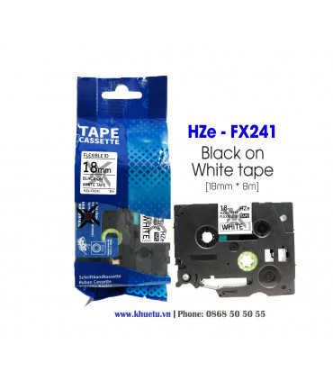 Nhãn in HZe-FX241 (TZe-FX241, TZ2-FX241), 18mm x 8m, Black on White | ⓿❽❻❽❺⓿❺⓿❺❺ | Nhãn in, tem in, giấy in, băng nhãn, tape ...