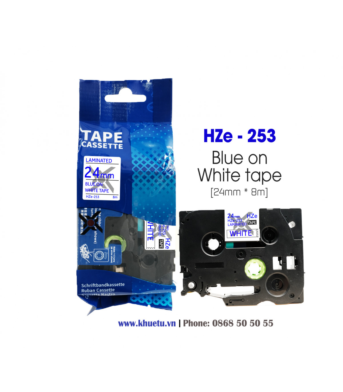 Nhãn in HZe-253 (TZe-253, TZ2-253), 24mm x 8m, Blue on White