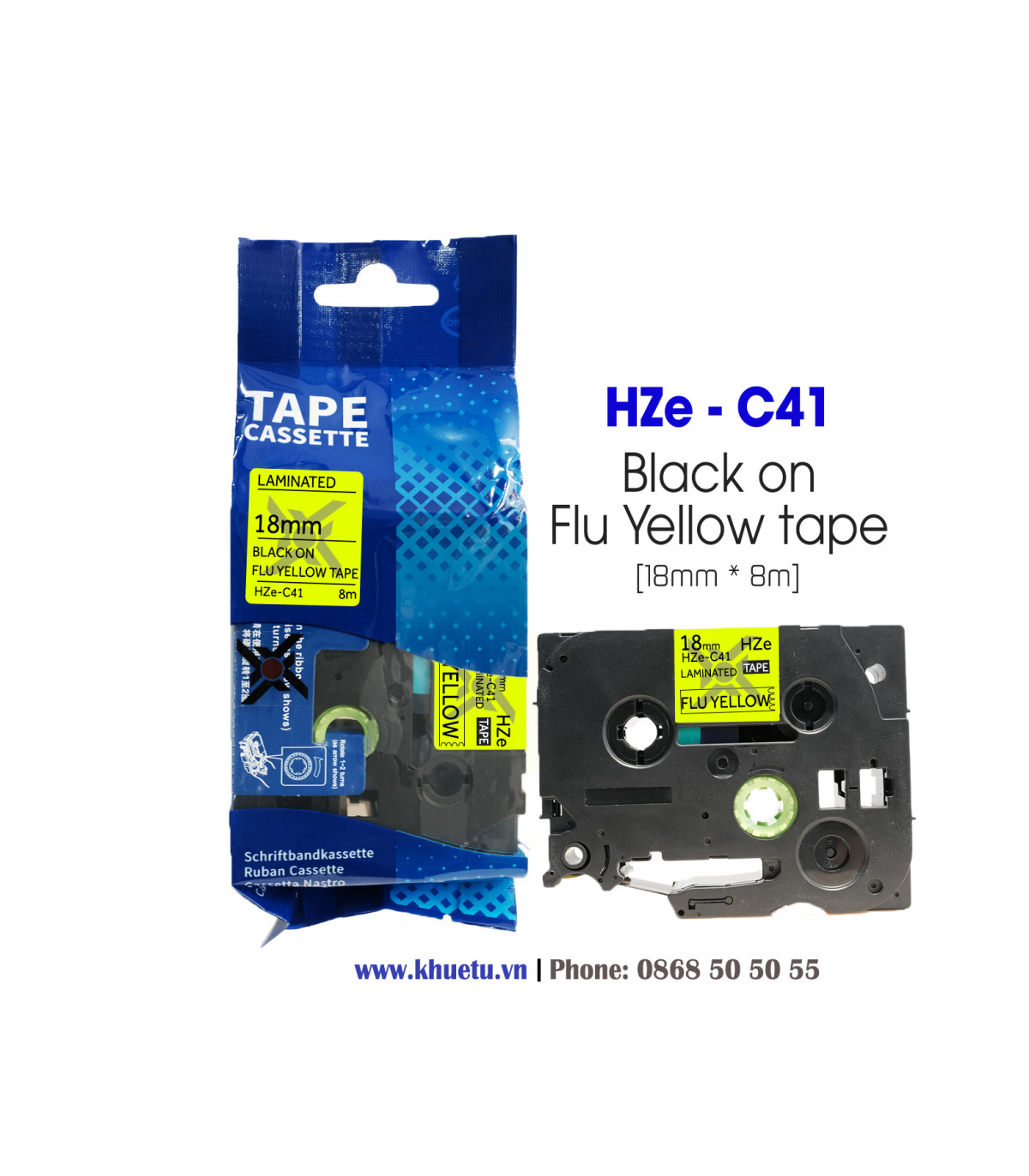 Nhãn in HZe-C41 (TZe-C41, TZ2-C41), 18mm x 8m, Black on Flourescent Yellow, Dạ quang | ⓿❽❻❽❺⓿❺⓿❺❺ | Nhãn in, tem in, giấy in,...