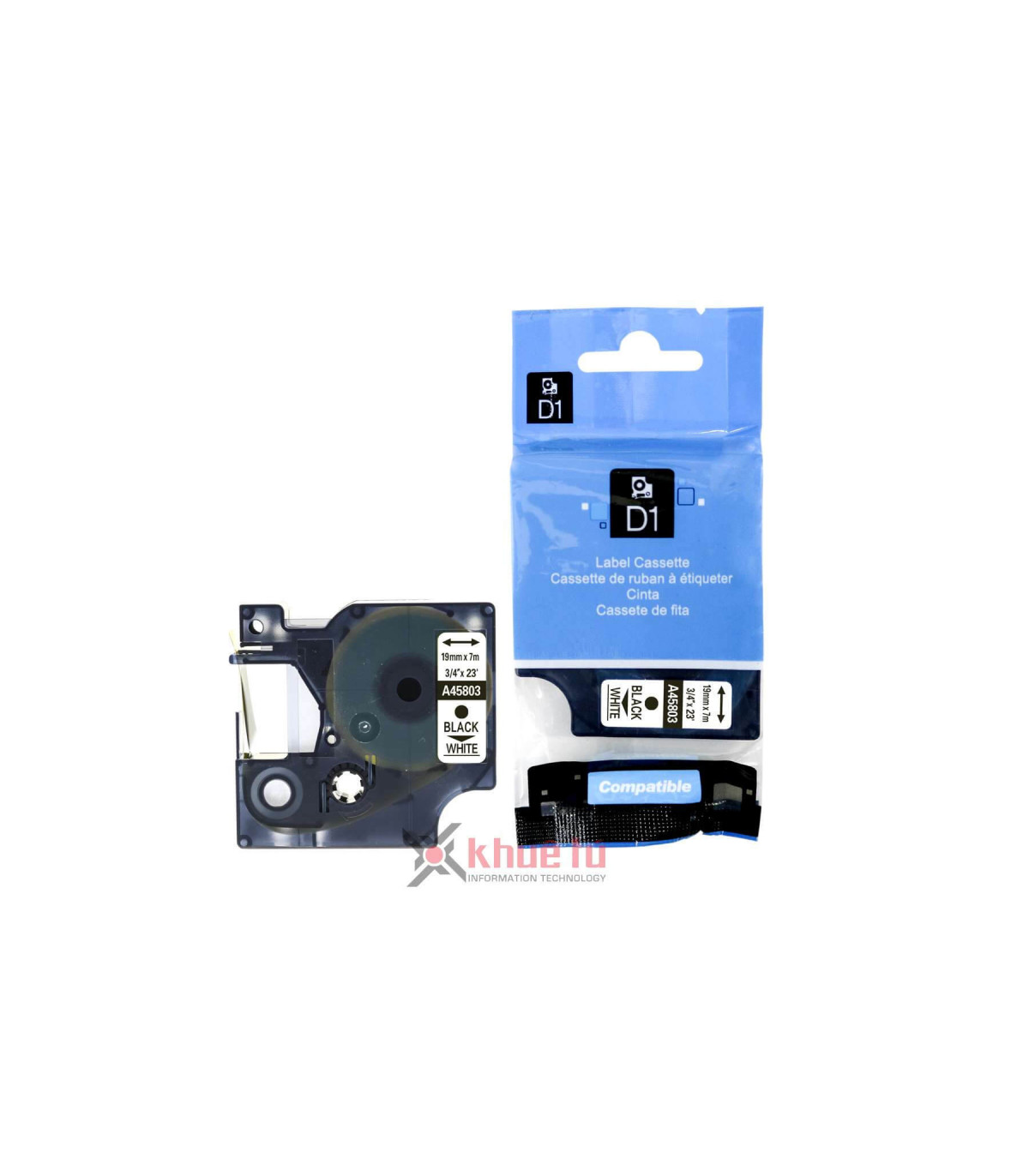 DM-A45803 D1 Tape A45803 19mm x 7m Black on White | ⓿❽❻❽❺⓿❺⓿❺❺ | Nhãn in, tem in, giấy in, băng nhãn, tape in | khuetu.vn
